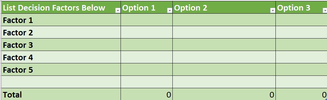 Free Decision Matrix Spreadsheet
