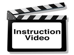 Instruction video for training and how to teaching using streaming internet media or other types of film as DVD and online viewing represented by a clapboard an film slate cinema symbol..
