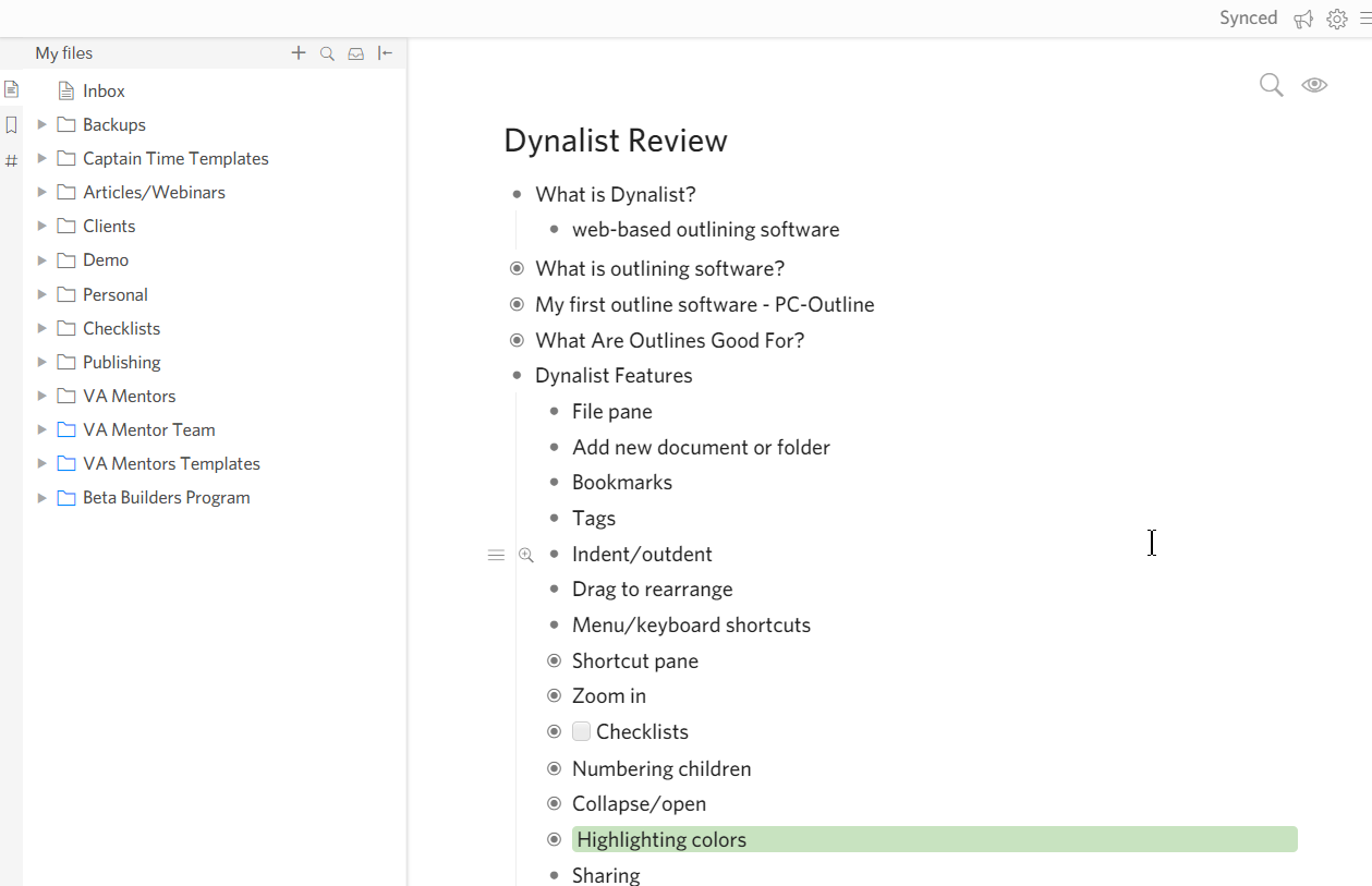 dynalist features review
