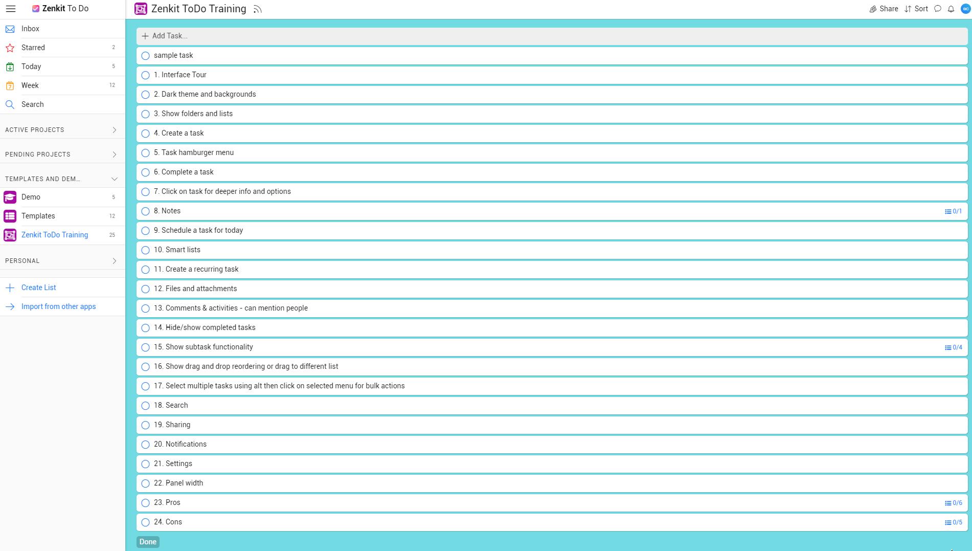 ZenKit ToDo Review - demo task list