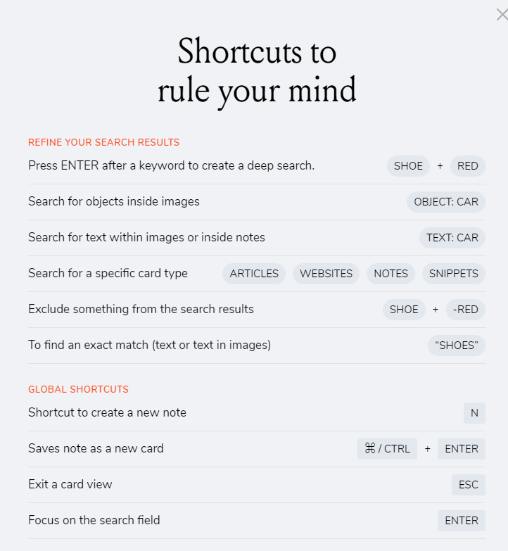mymind shortcuts