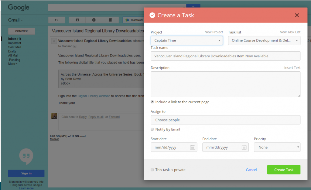 create gmail tasks in teamwork projects